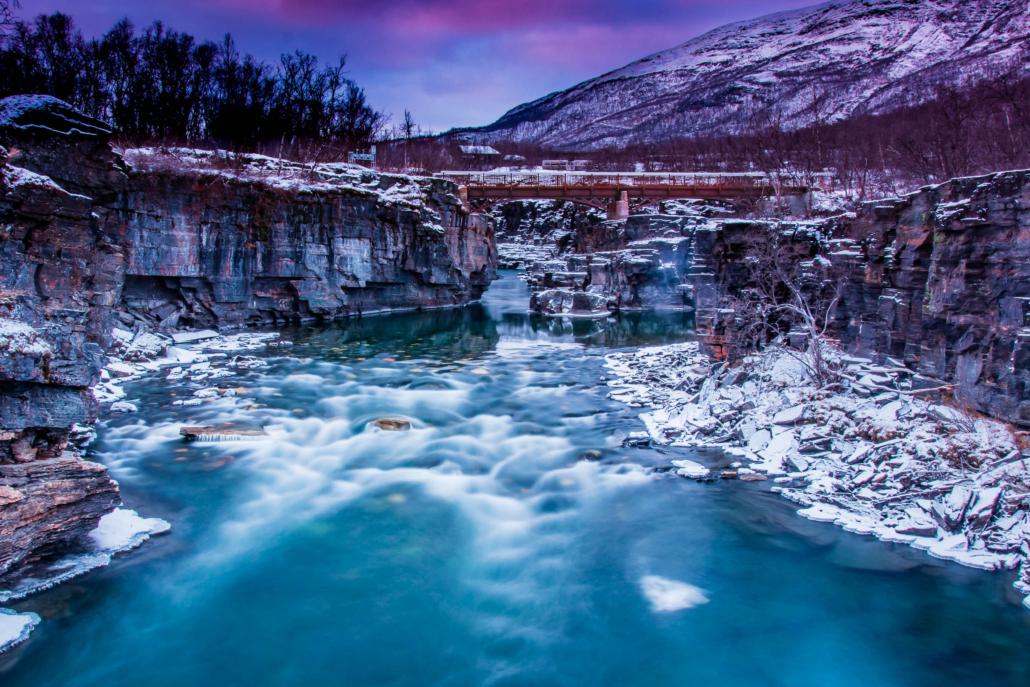 Long exposure - The Abisko Canyon - Copyright Trygve Selmer
